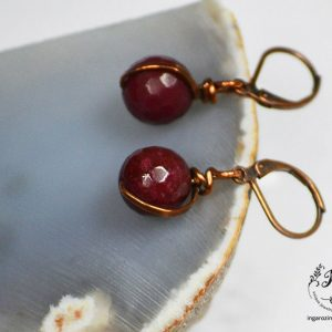Copper Earrings with Red Stone
