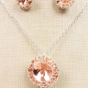 Peach Crystal Jewelry Set, Pendant and Earrings
